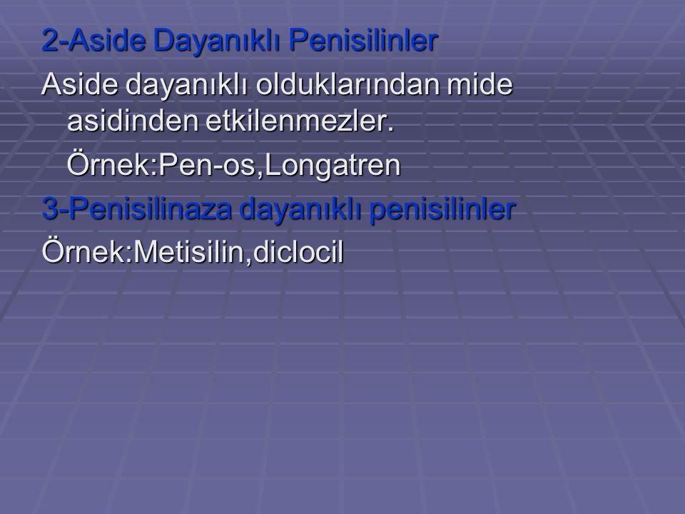 2-Aside Dayanıklı Penisilinler Aside dayanıklı olduklarından mide asidinden etkilenmezler. Örnek:Pen-os,Longatren Örnek:Pen-os,Longatren 3-Penisilinaz