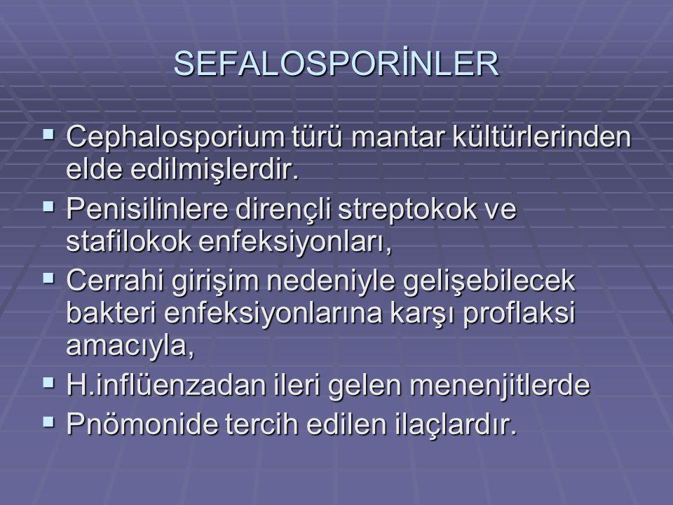 SEFALOSPORİNLER CCCCephalosporium türü mantar kültürlerinden elde edilmişlerdir. PPPPenisilinlere dirençli streptokok ve stafilokok enfeksiyon