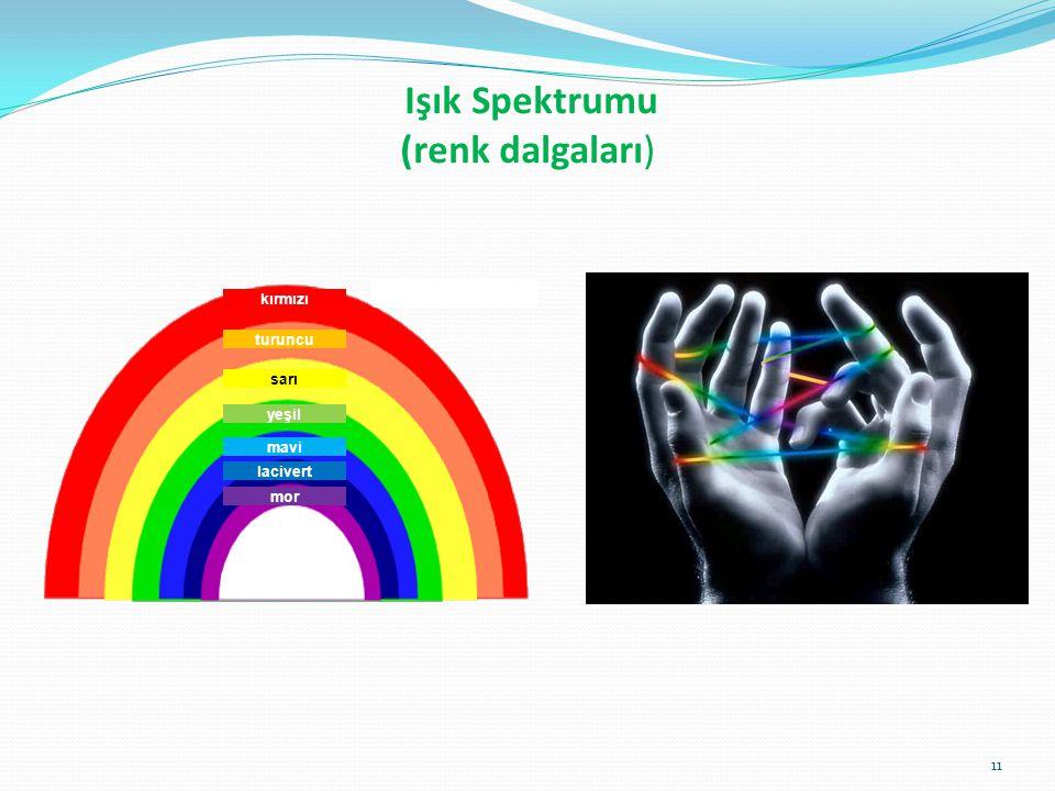 Işık Spektrumu (renk dalgaları) kırmızı turuncu sarı yeşil mavi lacivert mor 11