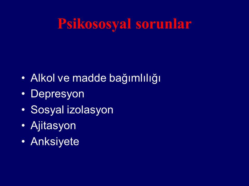 Psikososyal sorunlar Alkol ve madde bağımlılığı Depresyon Sosyal izolasyon Ajitasyon Anksiyete