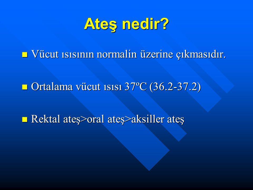 Ateş ölçümü <6y : rektal ya da koltuk altı <6y : rektal ya da koltuk altı >6y: oral ya da koltuk altı >6y: oral ya da koltuk altı Rektal ölçümün tehlikeleri: rektum perforasyonu, anal fissur, apne, nosokomial enf Rektal ölçümün tehlikeleri: rektum perforasyonu, anal fissur, apne, nosokomial enf Termometreler:civalı, dijital, timpanik Termometreler:civalı, dijital, timpanik
