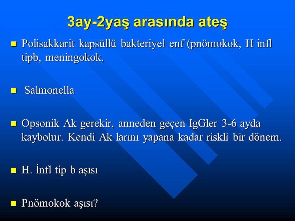 3ay-2yaş arasında ateş Polisakkarit kapsüllü bakteriyel enf (pnömokok, H infl tipb, meningokok, Polisakkarit kapsüllü bakteriyel enf (pnömokok, H infl