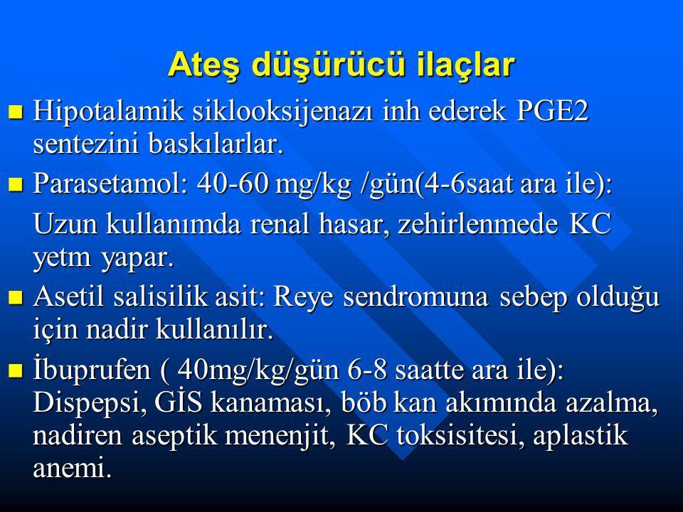 Ateş düşürücü ilaçlar Hipotalamik siklooksijenazı inh ederek PGE2 sentezini baskılarlar. Hipotalamik siklooksijenazı inh ederek PGE2 sentezini baskıla