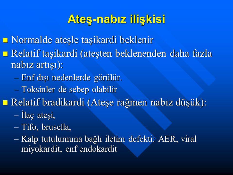 Ateş nedenleri Enfeksiyonlar: Bakteri, virüs, spiroket, mantar, parazit Enfeksiyonlar: Bakteri, virüs, spiroket, mantar, parazit Otoimmün, romatolojik hst: SLE, AER, JRA Otoimmün, romatolojik hst: SLE, AER, JRA İnflamatuar-granülomatöz hst:sarkoidoz,Crohn İnflamatuar-granülomatöz hst:sarkoidoz,Crohn Endokrin hast (feokromasitoma, tirotoksikoz) Endokrin hast (feokromasitoma, tirotoksikoz) Malignansiler (lösemi, lenfoma, hepatoma) Malignansiler (lösemi, lenfoma, hepatoma) İlaçlar (amfoterisin, fenitoin, karbamezapin, hidralazin) İlaçlar (amfoterisin, fenitoin, karbamezapin, hidralazin) Ailesel hst:FMF, familial disotonomi, ektodermal displazi Ailesel hst:FMF, familial disotonomi, ektodermal displazi Diğer:Dİ, pankreatit, zehirlenme, trombofilebit Diğer:Dİ, pankreatit, zehirlenme, trombofilebit