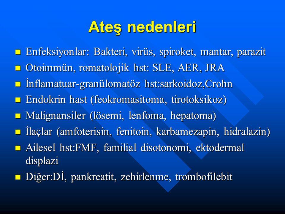 Nedeni bilinmeyen ateş II Hastanın yaşı <6yaş, Hastanın yaşı <6yaş, –Solunum yolu enf –Genitoüriner enf, –Lokalize enf (abse, osteomiyelit), –JRA, –Lösemi Adölesanda ayrıca: Adölesanda ayrıca: –Tbc, –İnflamatuvar bağ hst, –Otoimmün hst, – Lenfoma