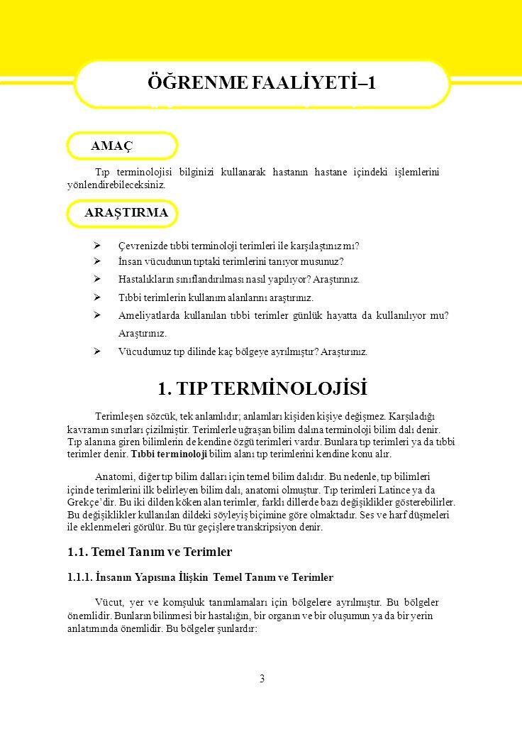 4 Regio capitis: Baş bölgesi Regio facialis: Yüz bölgesi Regio pectoralis: Pektoral bölge, göğüs ön yüz bölgesi.