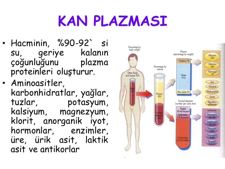 Kanın Yapısı *PLAZMA (%55) Su, protein, yağ, glikoz, aminoasit, eriyik tuzlar, vs… *KAN HÜCRELERİ (%45)