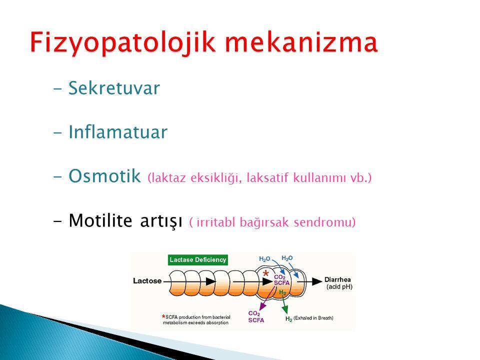 - Sekretuvar - Inflamatuar - Osmotik (laktaz eksikliği, laksatif kullanımı vb.) - Motilite artışı ( irritabl bağırsak sendromu)