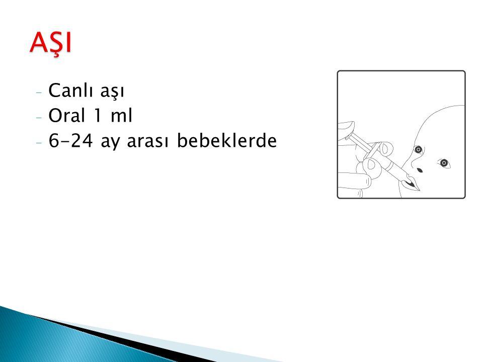 - Canlı aşı - Oral 1 ml - 6-24 ay arası bebeklerde