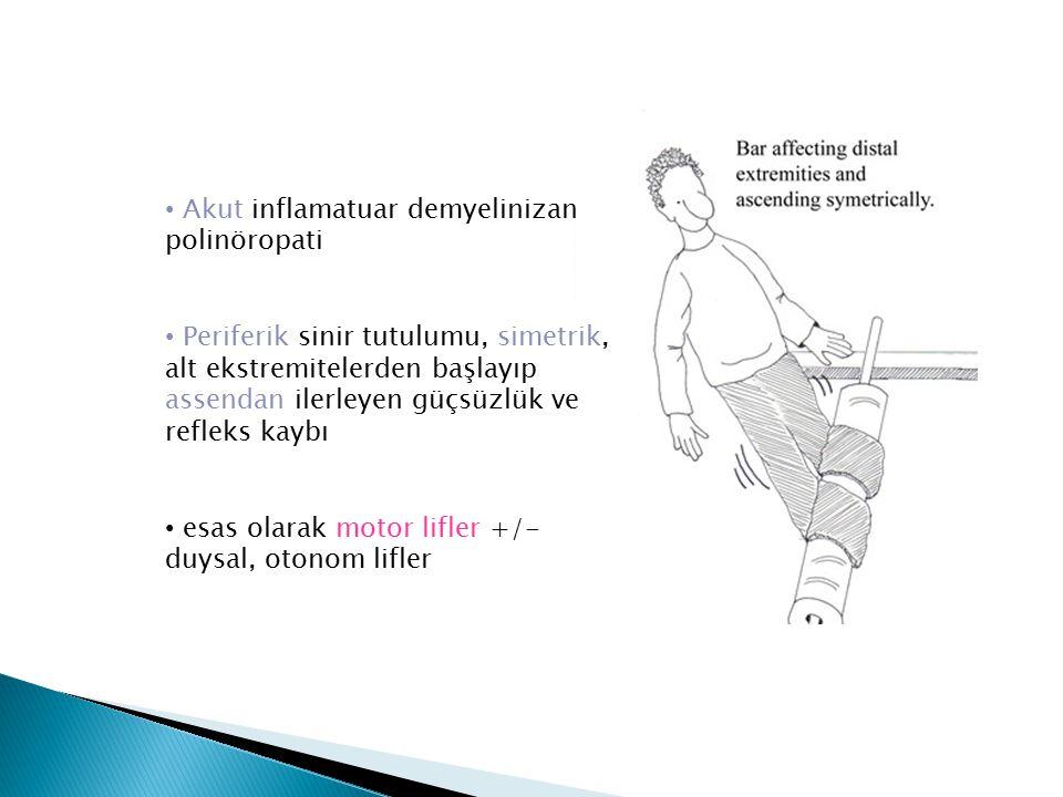 Akut inflamatuar demyelinizan polinöropati Periferik sinir tutulumu, simetrik, alt ekstremitelerden başlayıp assendan ilerleyen güçsüzlük ve refleks k