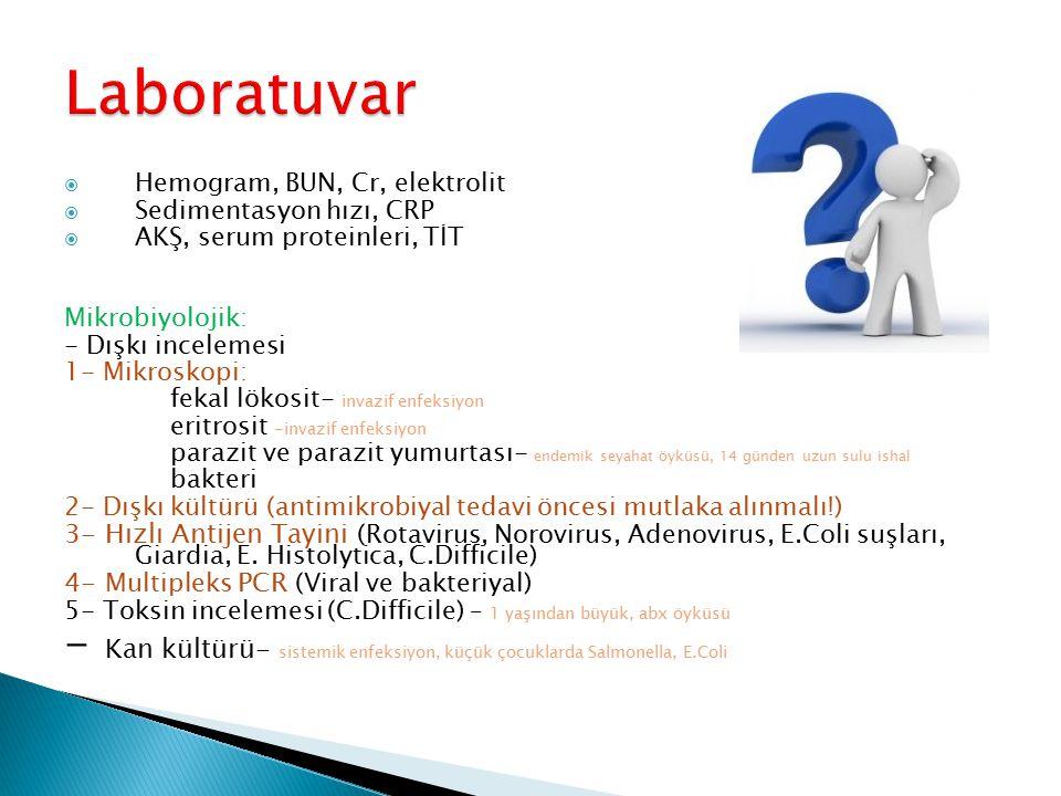  Hemogram, BUN, Cr, elektrolit  Sedimentasyon hızı, CRP  AKŞ, serum proteinleri, TİT Mikrobiyolojik: - Dışkı incelemesi 1- Mikroskopi: fekal lökosi