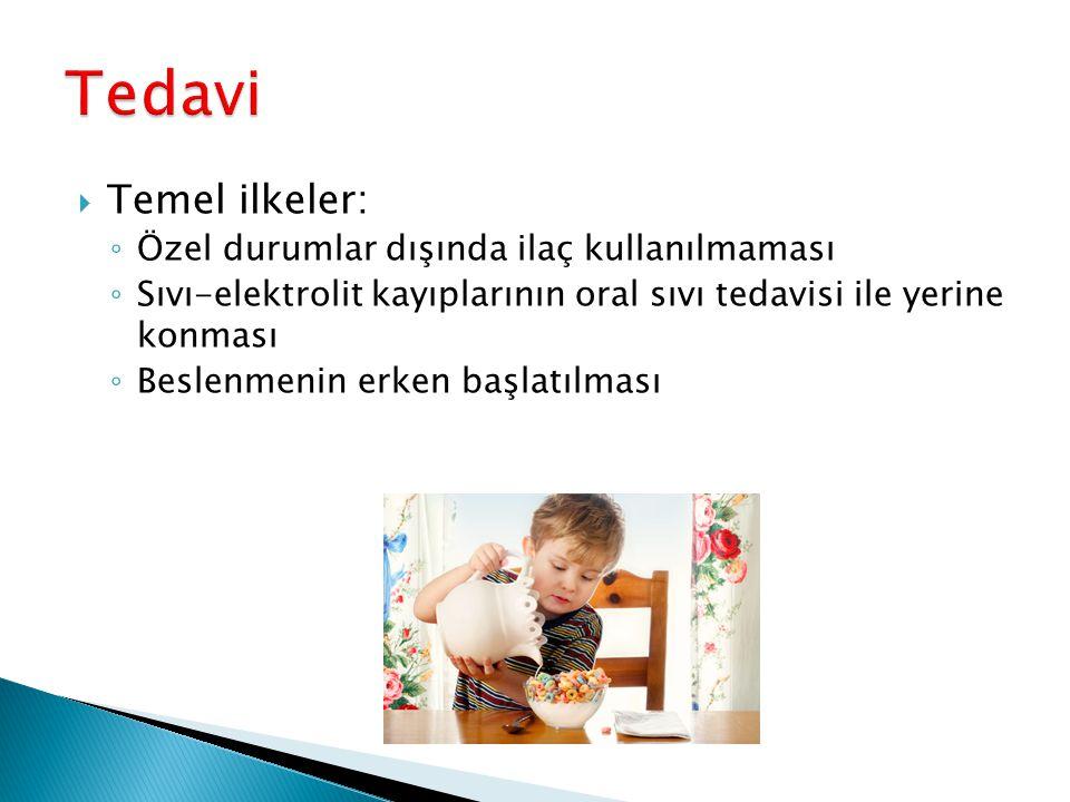  Temel ilkeler: ◦ Özel durumlar dışında ilaç kullanılmaması ◦ Sıvı-elektrolit kayıplarının oral sıvı tedavisi ile yerine konması ◦ Beslenmenin erken