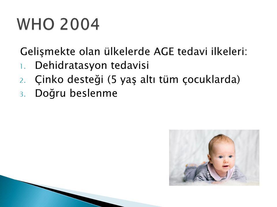Gelişmekte olan ülkelerde AGE tedavi ilkeleri: 1. Dehidratasyon tedavisi 2. Çinko desteği (5 yaş altı tüm çocuklarda) 3. Doğru beslenme