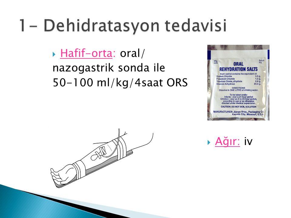  Hafif-orta: oral/ nazogastrik sonda ile 50-100 ml/kg/4saat ORS  Ağır: iv