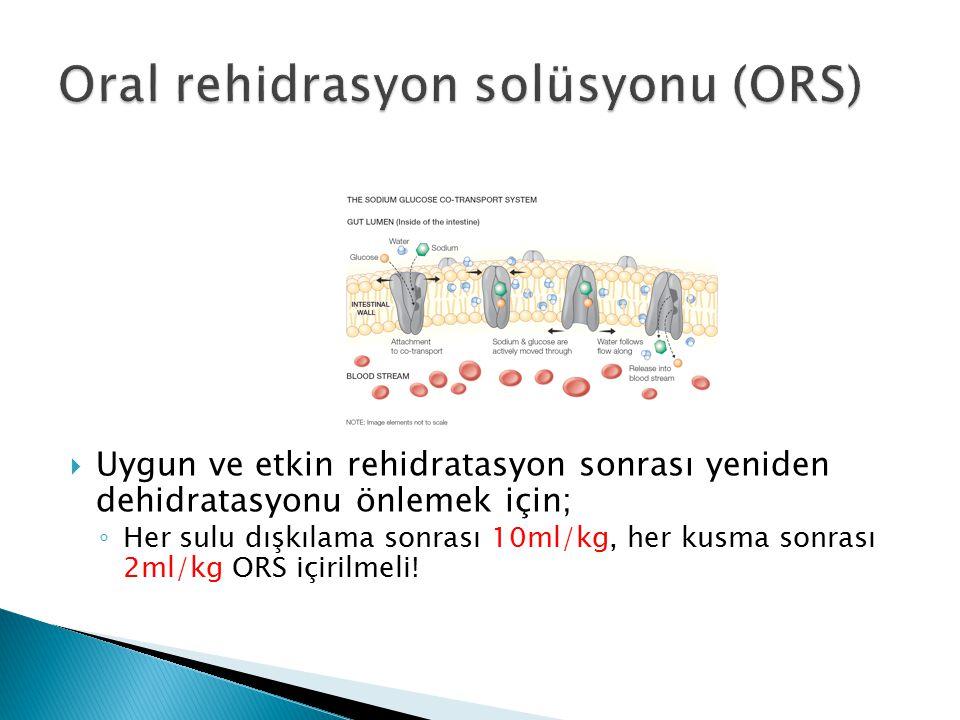  Uygun ve etkin rehidratasyon sonrası yeniden dehidratasyonu önlemek için; ◦ Her sulu dışkılama sonrası 10ml/kg, her kusma sonrası 2ml/kg ORS içirilm