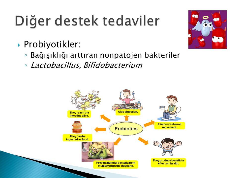  Probiyotikler: ◦ Bağışıklığı arttıran nonpatojen bakteriler ◦ Lactobacillus, Bifidobacterium -