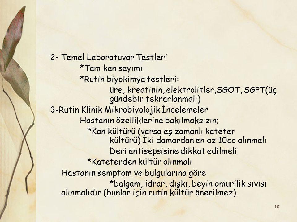 2- Temel Laboratuvar Testleri *Tam kan sayımı *Rutin biyokimya testleri: üre, kreatinin, elektrolitler,SGOT, SGPT(üç gündebir tekrarlanmalı) 3-Rutin K