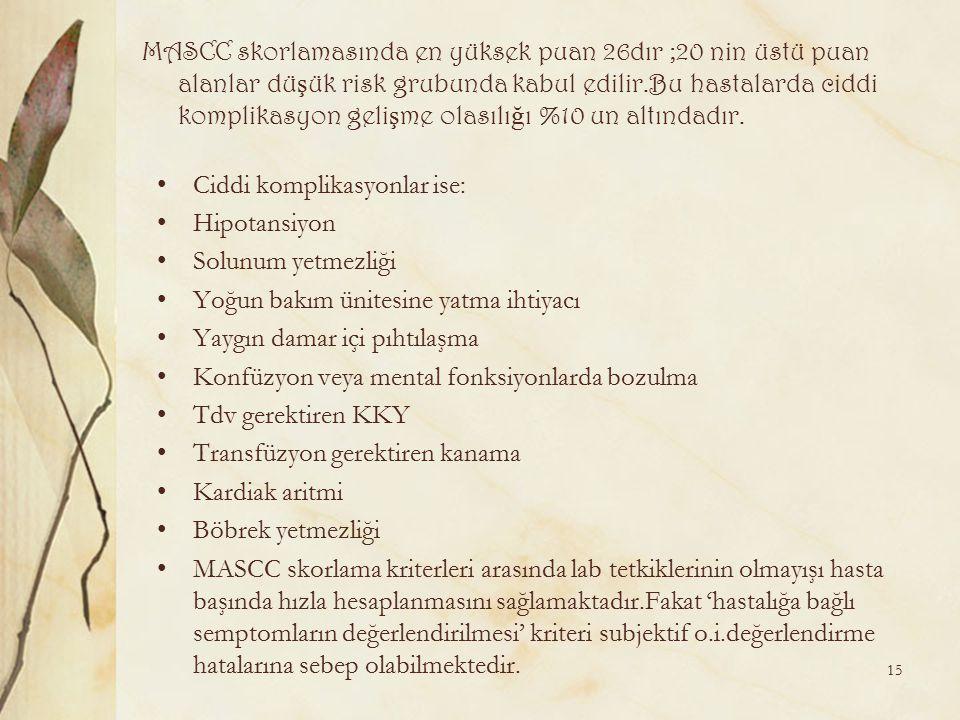 MASCC skorlamasında en yüksek puan 26dır ;20 nin üstü puan alanlar dü ş ük risk grubunda kabul edilir.Bu hastalarda ciddi komplikasyon geli ş me olası