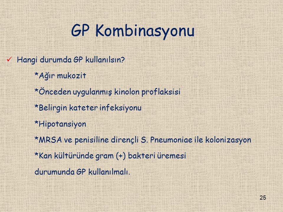 GP Kombinasyonu Hangi durumda GP kullanılsın? *Ağır mukozit *Önceden uygulanmış kinolon proflaksisi *Belirgin kateter infeksiyonu *Hipotansiyon *MRSA