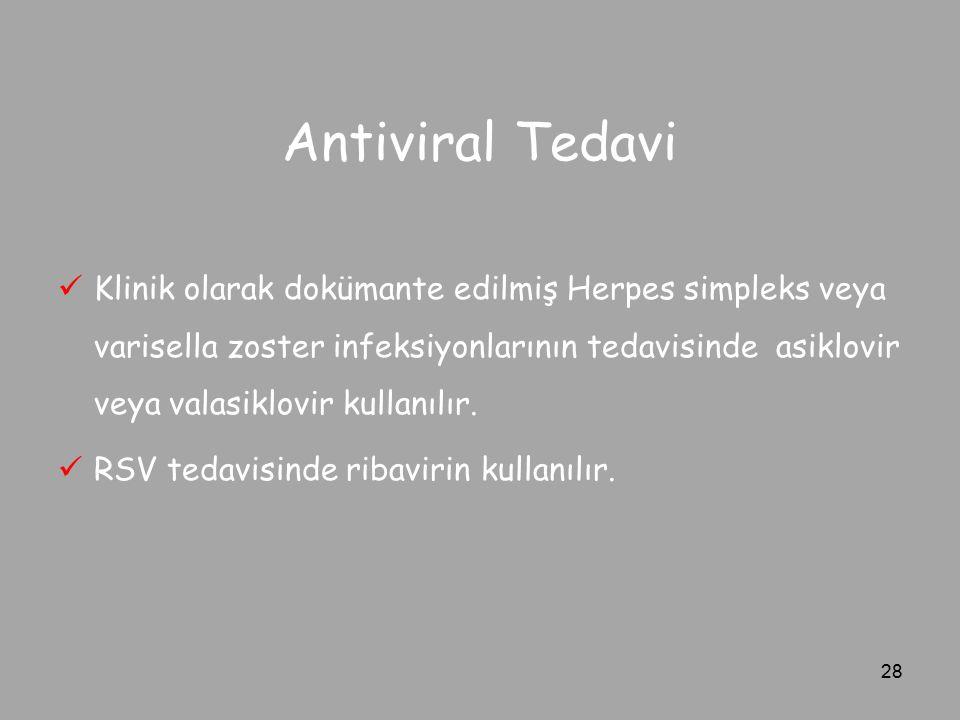 Antiviral Tedavi Klinik olarak dokümante edilmiş Herpes simpleks veya varisella zoster infeksiyonlarının tedavisinde asiklovir veya valasiklovir kulla