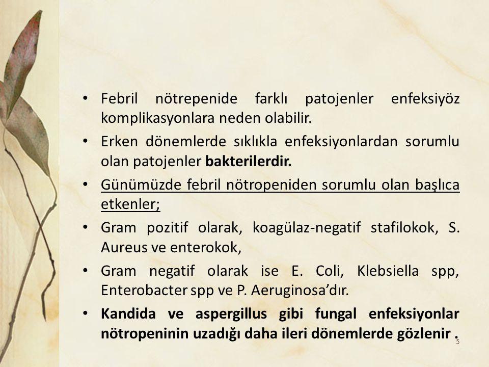 Febril nötrepenide farklı patojenler enfeksiyöz komplikasyonlara neden olabilir. Erken dönemlerde sıklıkla enfeksiyonlardan sorumlu olan patojenler ba