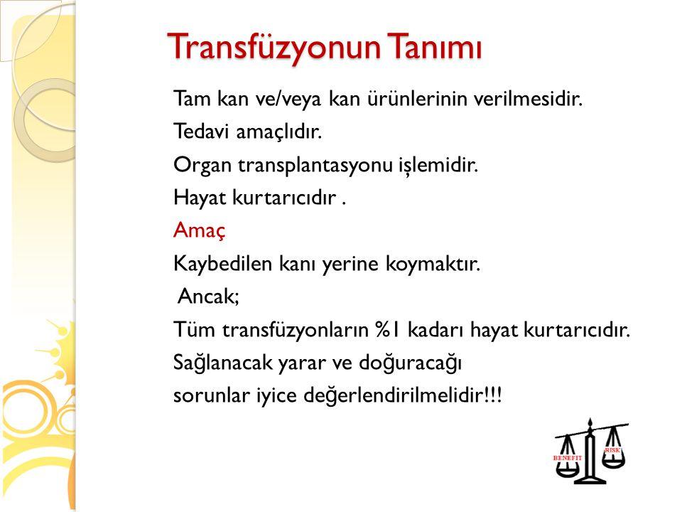 Transfüzyonun Tanımı Tam kan ve/veya kan ürünlerinin verilmesidir. Tedavi amaçlıdır. Organ transplantasyonu işlemidir. Hayat kurtarıcıdır. Amaç Kaybed