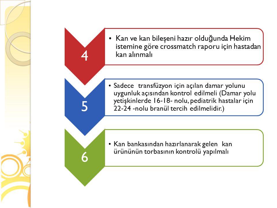 4 Kan ve kan bileşeni hazır oldu ğ unda Hekim istemine göre crossmatch raporu için hastadan kan alınmalı 5 Sadece transfüzyon için açılan damar yolunu