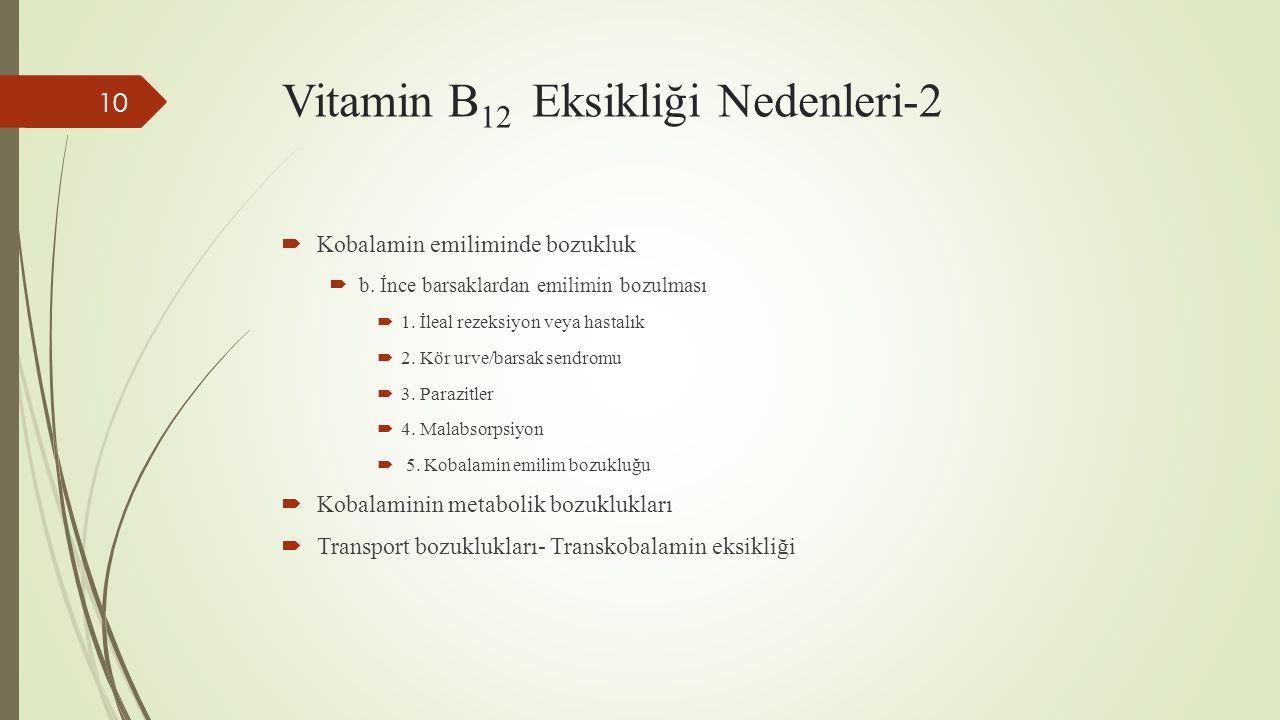 Vitamin B 12 Eksikliği Nedenleri-2  Kobalamin emiliminde bozukluk  b. İnce barsaklardan emilimin bozulması  1. İleal rezeksiyon veya hastalık  2.