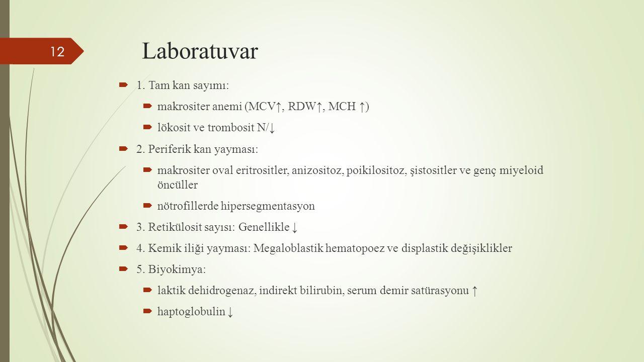 Laboratuvar  1. Tam kan sayımı:  makrositer anemi (MCV↑, RDW↑, MCH ↑)  lökosit ve trombosit N/↓  2. Periferik kan yayması:  makrositer oval eritr