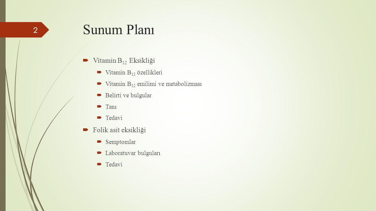 Sunum Planı  Vitamin B 12 Eksikliği  Vitamin B 12 özellikleri  Vitamin B 12 emilimi ve metabolizması  Belirti ve bulgular  Tanı  Tedavi  Folik