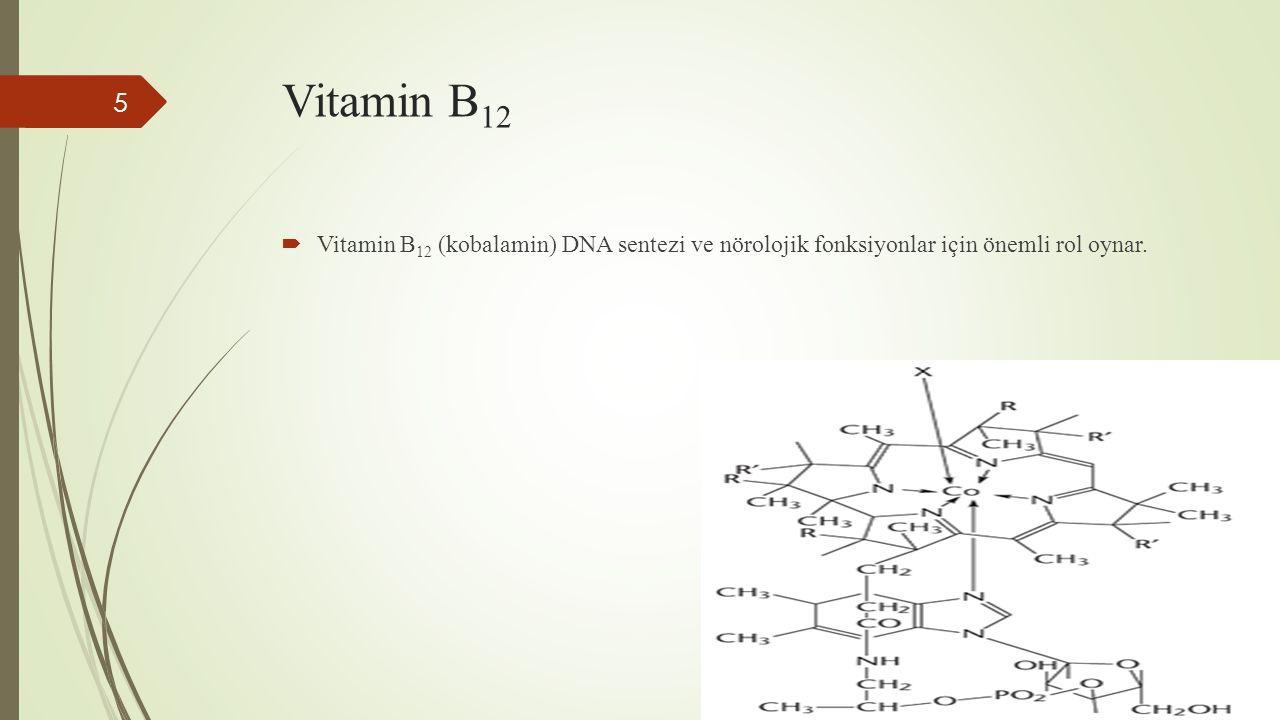 Vitamin B 12  Vitamin B 12 (kobalamin) DNA sentezi ve nörolojik fonksiyonlar için önemli rol oynar. 5