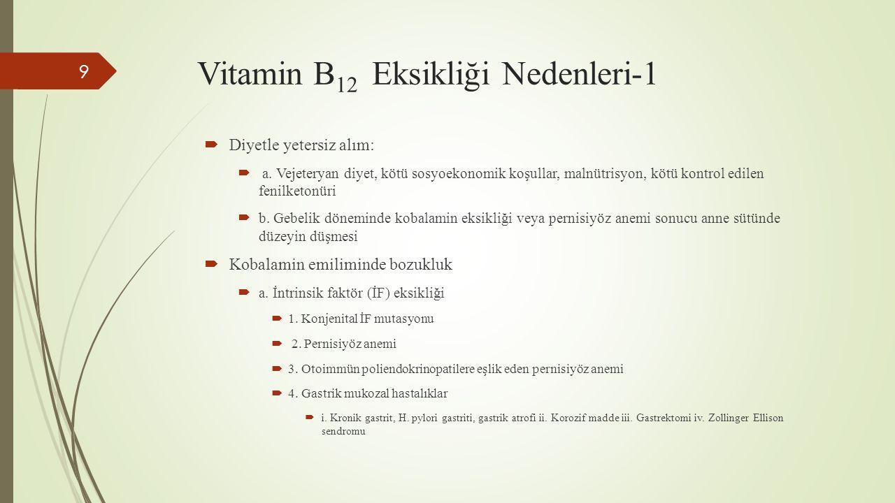 Vitamin B 12 Eksikliği Nedenleri-1 9  Diyetle yetersiz alım:  a. Vejeteryan diyet, kötü sosyoekonomik koşullar, malnütrisyon, kötü kontrol edilen fe