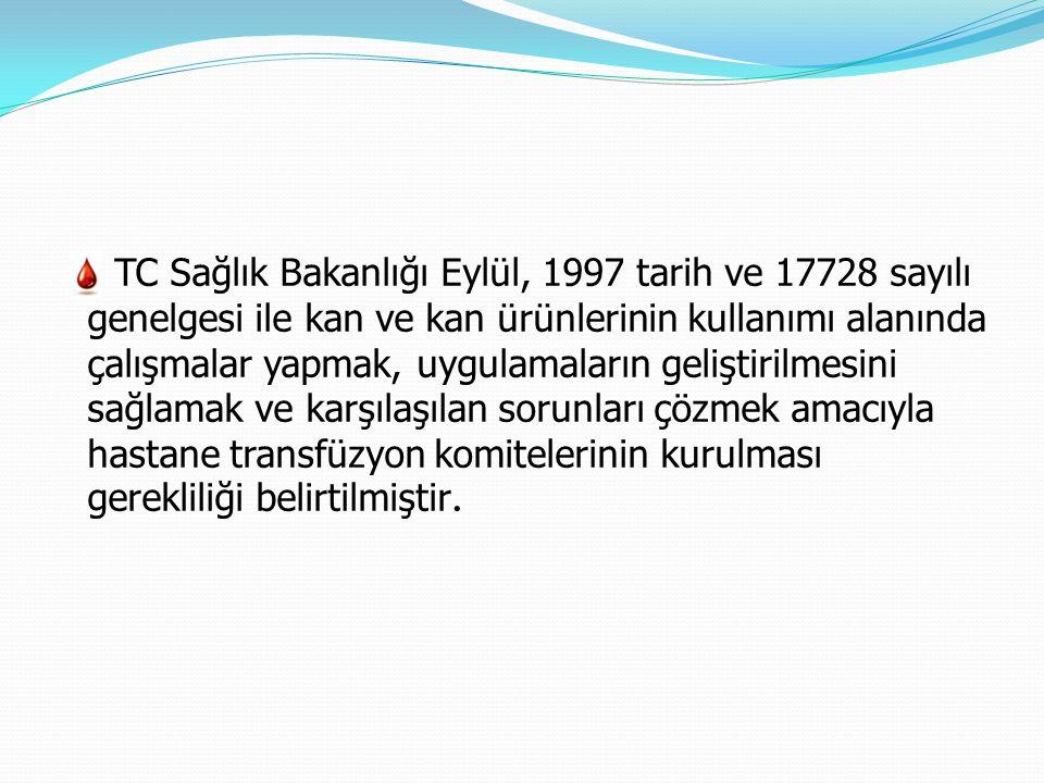 TC Sağlık Bakanlığı Eylül, 1997 tarih ve 17728 sayılı genelgesi ile kan ve kan ürünlerinin kullanımı alanında çalışmalar yapmak, uygulamaların gelişti
