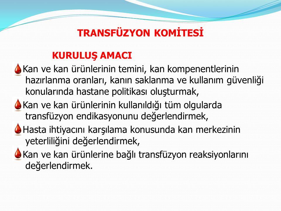 KURULUŞU Hastane yönetimi, kan merkezi ve kan ürünleri kullanılan tüm bölümler ve kan merkezi transfüzyon komitesinde temsil edilmelidir.