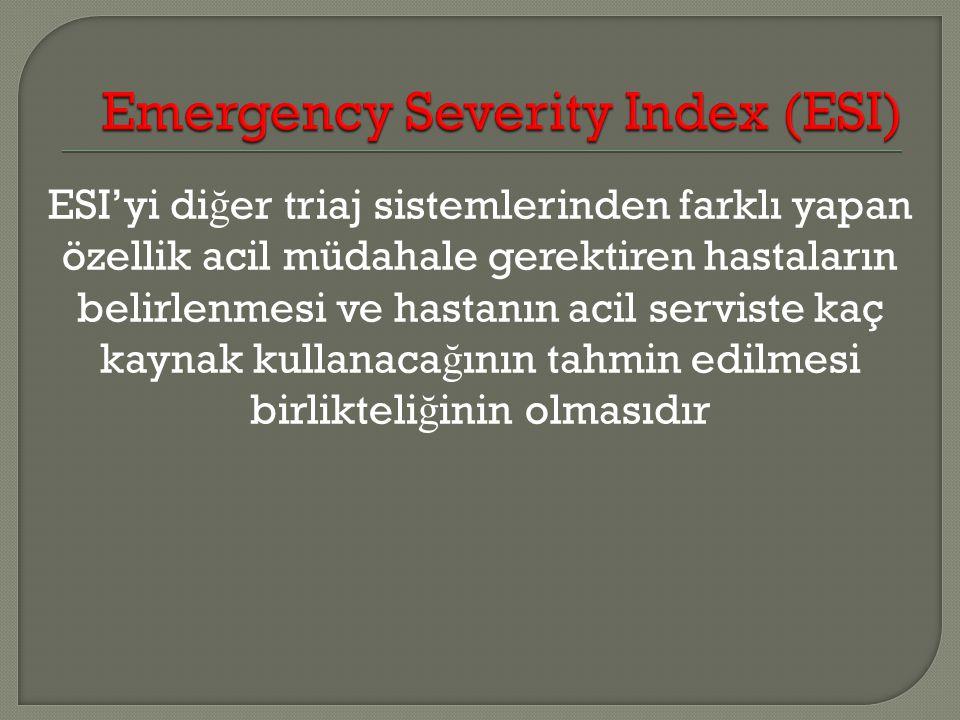 ESI'yi di ğ er triaj sistemlerinden farklı yapan özellik acil müdahale gerektiren hastaların belirlenmesi ve hastanın acil serviste kaç kaynak kullana