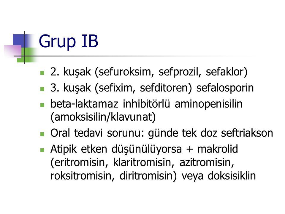 Grup IB 2. kuşak (sefuroksim, sefprozil, sefaklor) 3. kuşak (sefixim, sefditoren) sefalosporin beta-laktamaz inhibitörlü aminopenisilin (amoksisilin/k