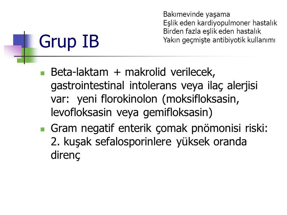 Grup IB Beta-laktam + makrolid verilecek, gastrointestinal intolerans veya ilaç alerjisi var: yeni florokinolon (moksifloksasin, levofloksasin veya ge