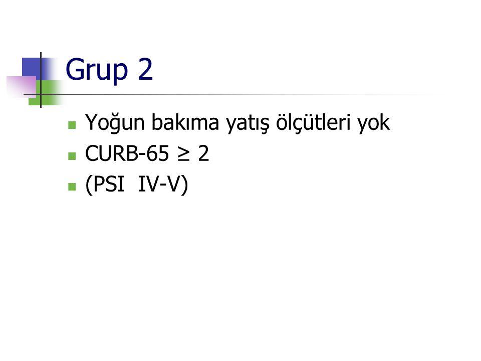 Grup 2 Yoğun bakıma yatış ölçütleri yok CURB-65 ≥ 2 (PSI IV-V)