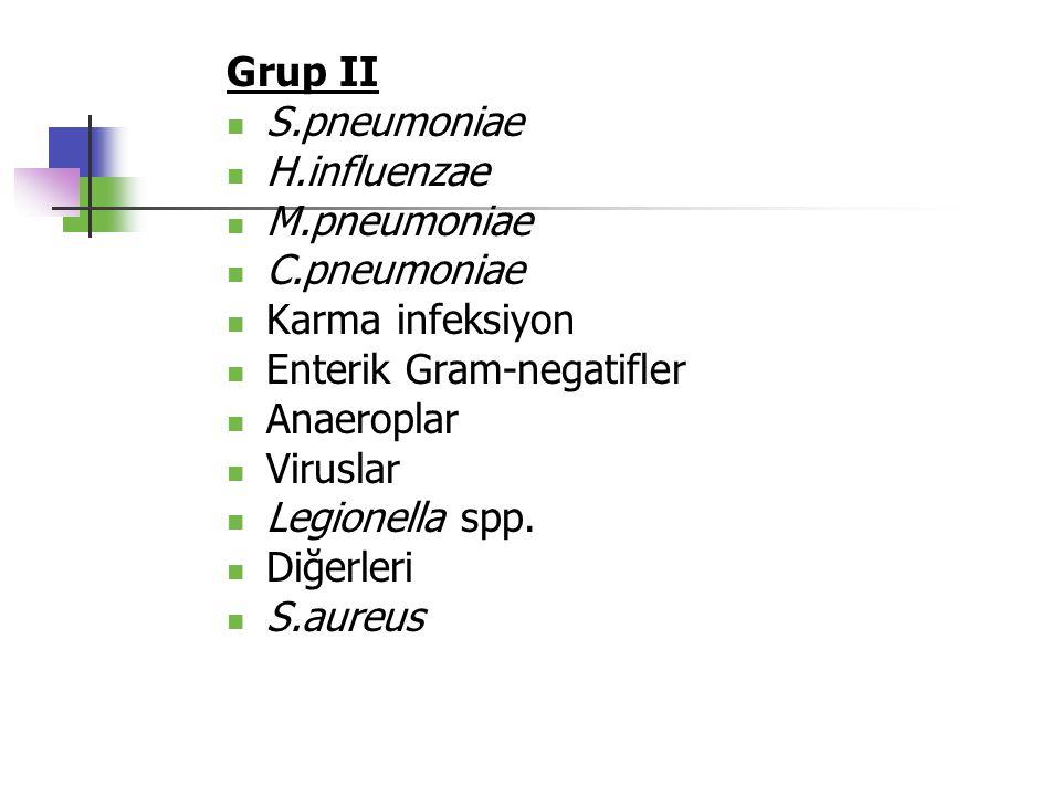 Grup II S.pneumoniae H.influenzae M.pneumoniae C.pneumoniae Karma infeksiyon Enterik Gram-negatifler Anaeroplar Viruslar Legionella spp. Diğerleri S.a