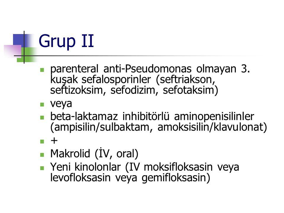 Grup II parenteral anti-Pseudomonas olmayan 3. kuşak sefalosporinler (seftriakson, seftizoksim, sefodizim, sefotaksim) veya beta-laktamaz inhibitörlü