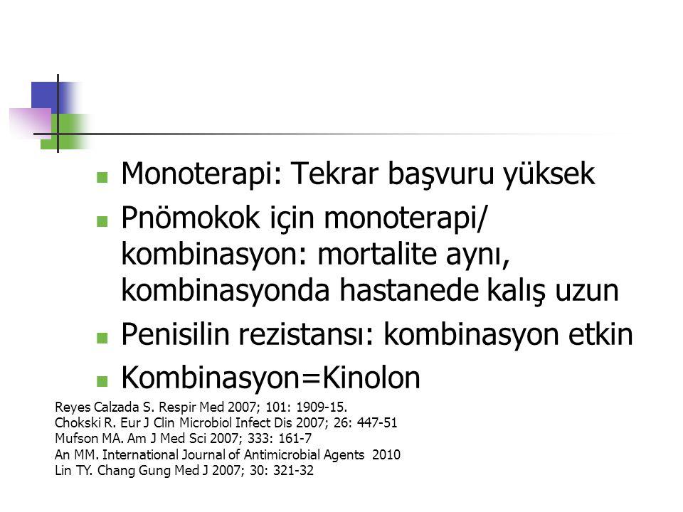 Monoterapi: Tekrar başvuru yüksek Pnömokok için monoterapi/ kombinasyon: mortalite aynı, kombinasyonda hastanede kalış uzun Penisilin rezistansı: komb