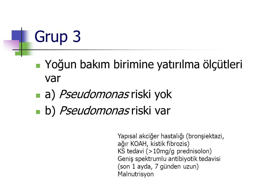 Grup 3 Yoğun bakım birimine yatırılma ölçütleri var a) Pseudomonas riski yok b) Pseudomonas riski var Yapısal akciğer hastalığı (bronşiektazi, ağır KO