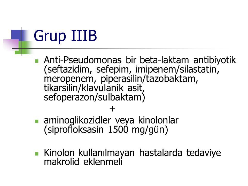 Grup IIIB Anti-Pseudomonas bir beta-laktam antibiyotik (seftazidim, sefepim, imipenem/silastatin, meropenem, piperasilin/tazobaktam, tikarsilin/klavul