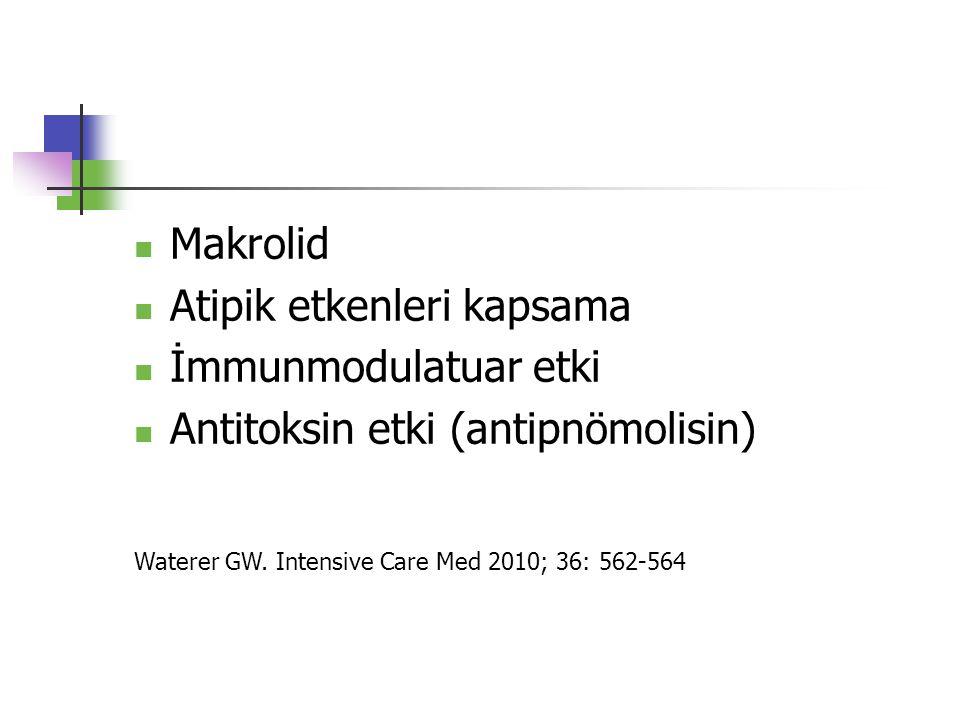 Makrolid Atipik etkenleri kapsama İmmunmodulatuar etki Antitoksin etki (antipnömolisin) Waterer GW. Intensive Care Med 2010; 36: 562-564