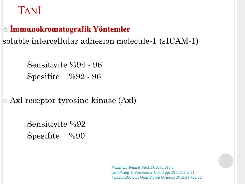 İmmunokromatografik Yöntemler soluble intercellular adhesion molecule-1 (sICAM-1) Sensitivite %94 - 96 Spesifite %92 - 96 Axl receptor tyrosine kinase