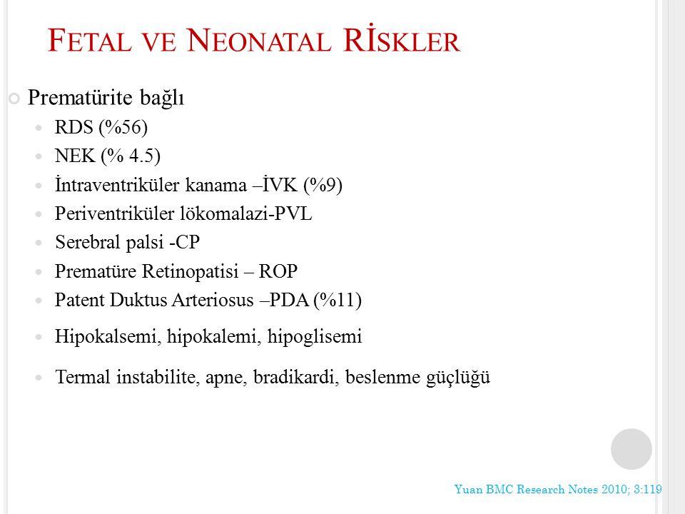 F ETAL VE N EONATAL Rİ SKLER Prematürite bağlı RDS (%56) NEK (% 4.5) İntraventriküler kanama –İVK (%9) Periventriküler lökomalazi-PVL Serebral palsi -