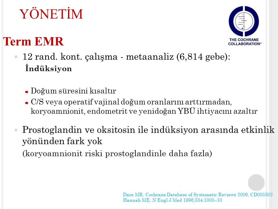 Term EMR 12 rand. kont. çalışma - metaanaliz (6,814 gebe): İndüksiyon Doğum süresini kısaltır C/S veya operatif vajinal doğum oranlarını arttırmadan,