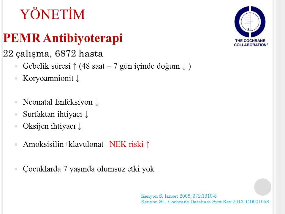 PEMR Antibiyoterapi 22 çalışma, 6872 hasta Gebelik süresi ↑ (48 saat – 7 gün içinde doğum ↓ ) Koryoamnionit ↓ Neonatal Enfeksiyon ↓ Surfaktan ihtiyacı