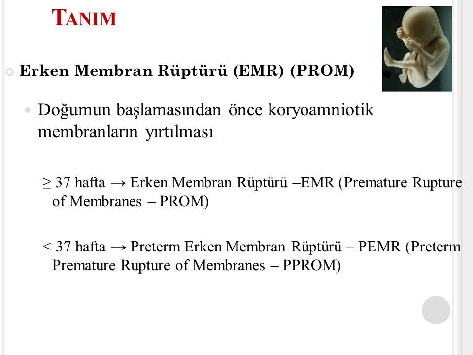 Erken Membran Rüptürü (EMR) (PROM) Doğumun başlamasından önce koryoamniotik membranların yırtılması ≥ 37 hafta → Erken Membran Rüptürü –EMR (Premature