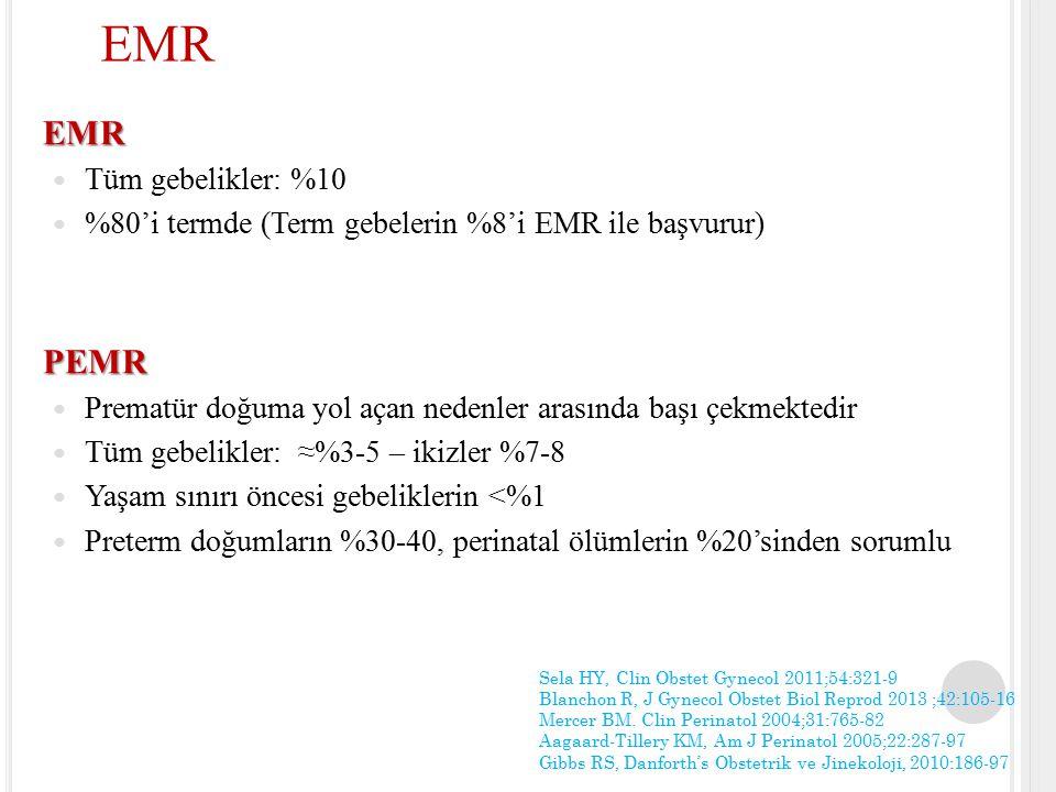 Geç Preterm EMR (34 +0 – 36 +6 hf) Yaklaşım term EMR ile aynıdır 736 hasta, 2 randomize kontrollü çalışma Hemen doğum vs Bekleme Neonatal sepsis  fark yok %1.6 %5.3 Koryoamnionit  anlamlı düşüş (34 hf %1.6 vs 37 hf %5.3) ACOG, Obstet Gynecol 2013;122:918-30 van der Ham DP, Am J Obstet Gynecol 2012;207:276.